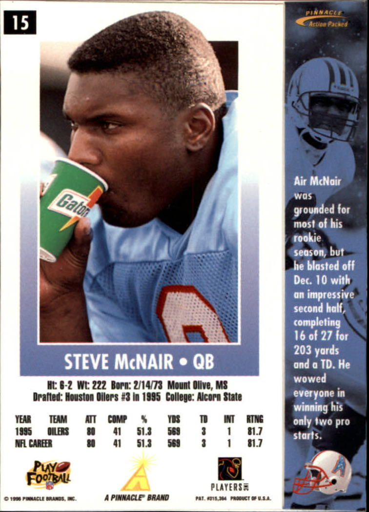 1996 Action Packed #15 Steve McNair back image