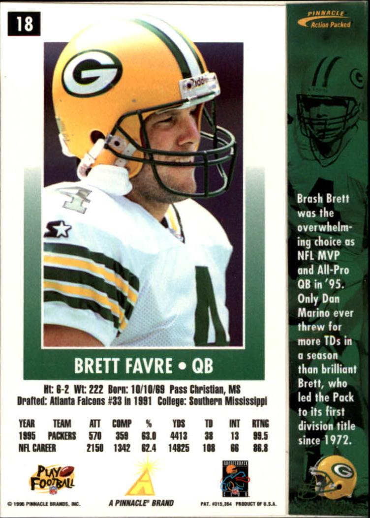1996 Action Packed #18 Brett Favre back image