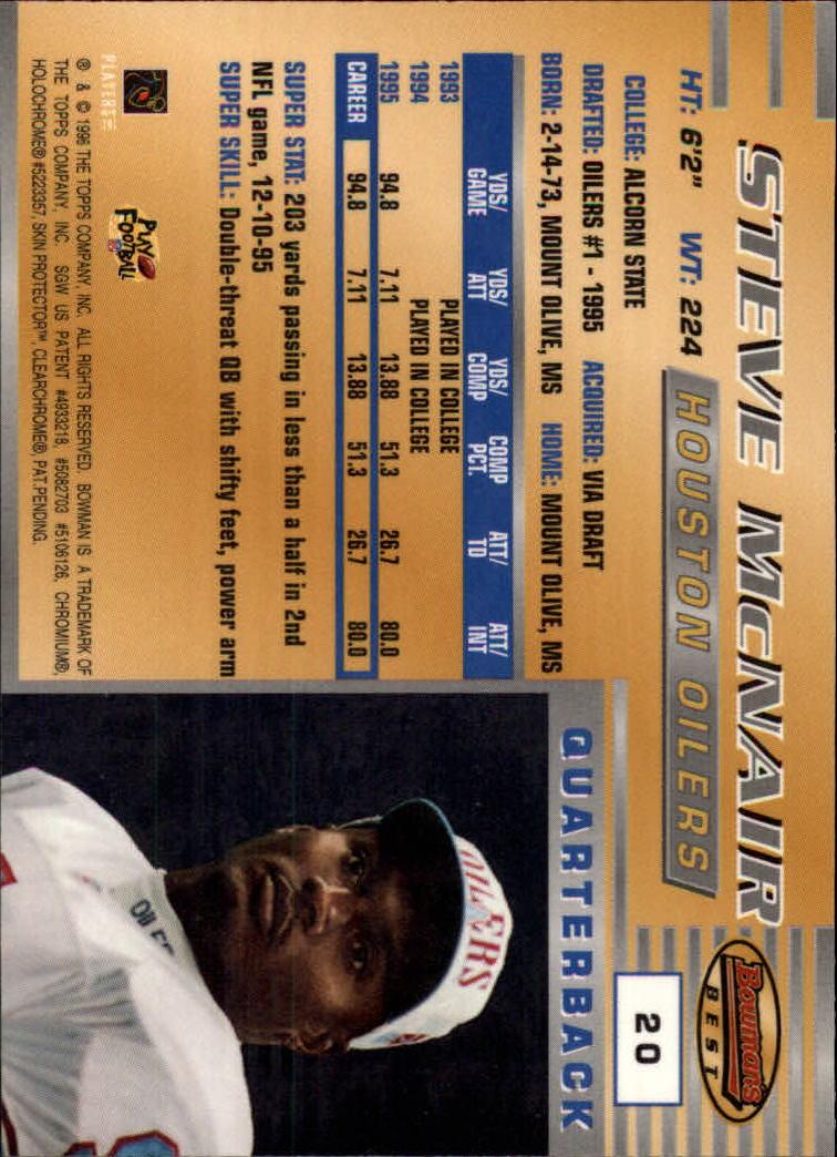 1996 Bowman's Best #20 Steve McNair back image