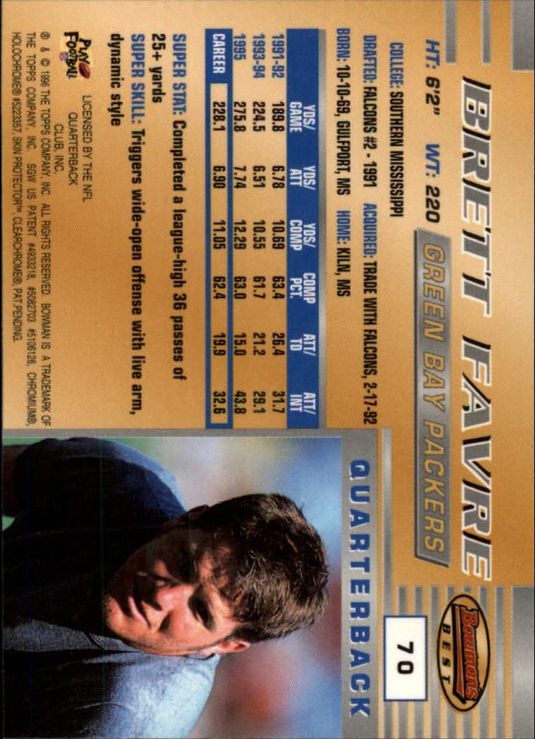 1996 Bowman's Best #70 Brett Favre back image