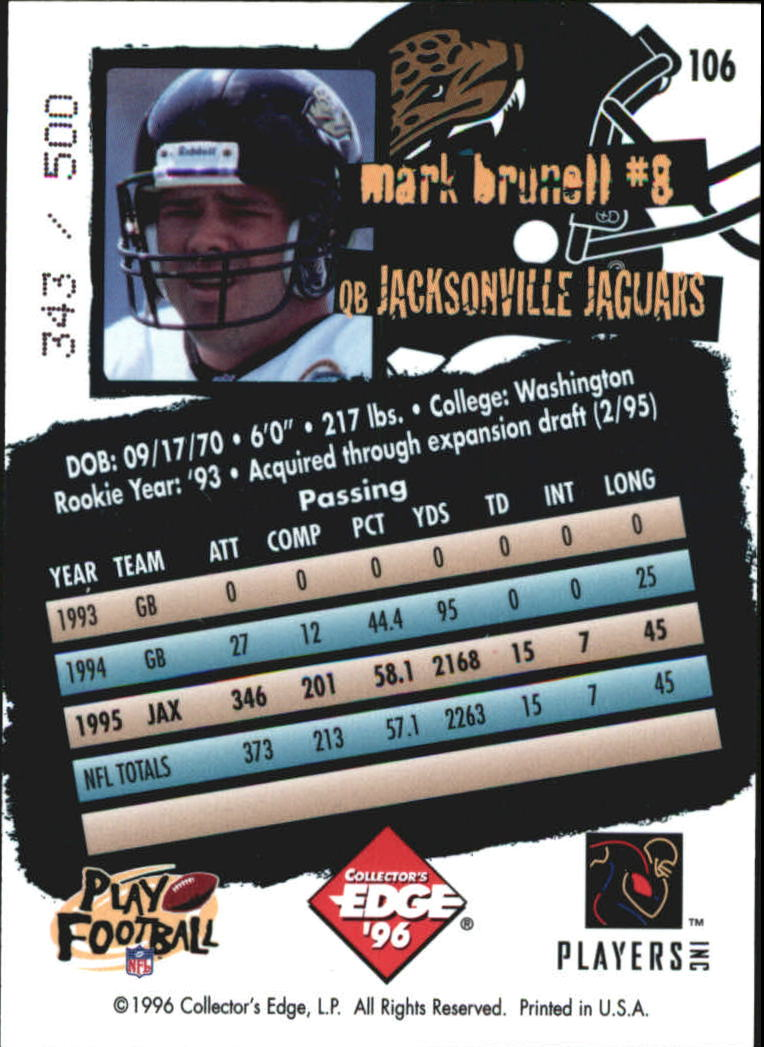 1996 Collector's Edge Holofoil #106 Mark Brunell back image