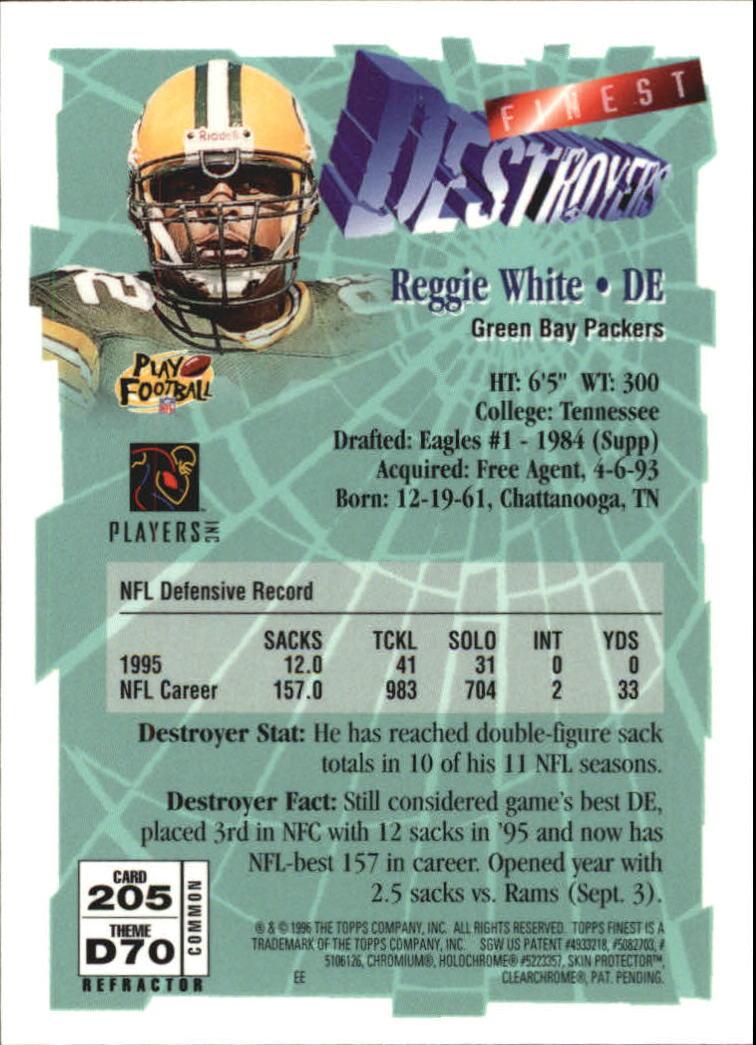 1996 Finest Refractors #205 Reggie White B back image
