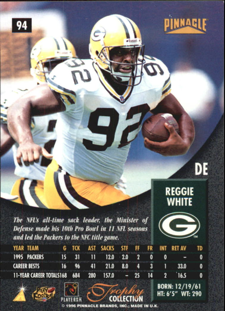 1996 Pinnacle Trophy Collection #94 Reggie White back image