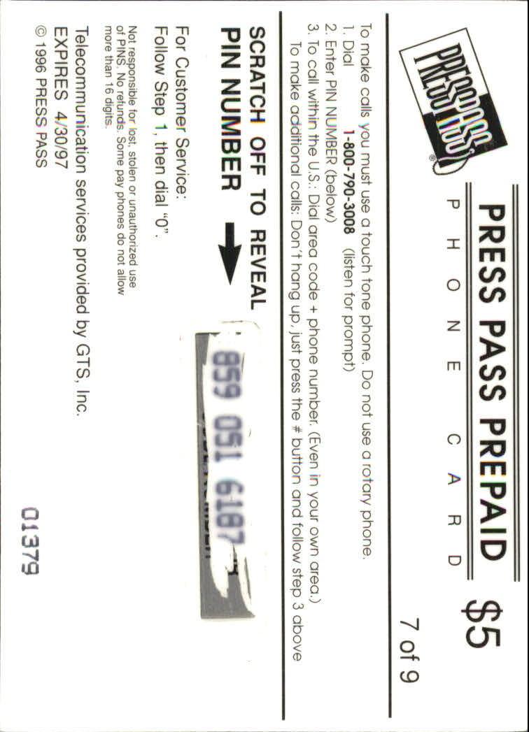 1996 Press Pass Phone Cards $5 #7 Leeland McElroy back image