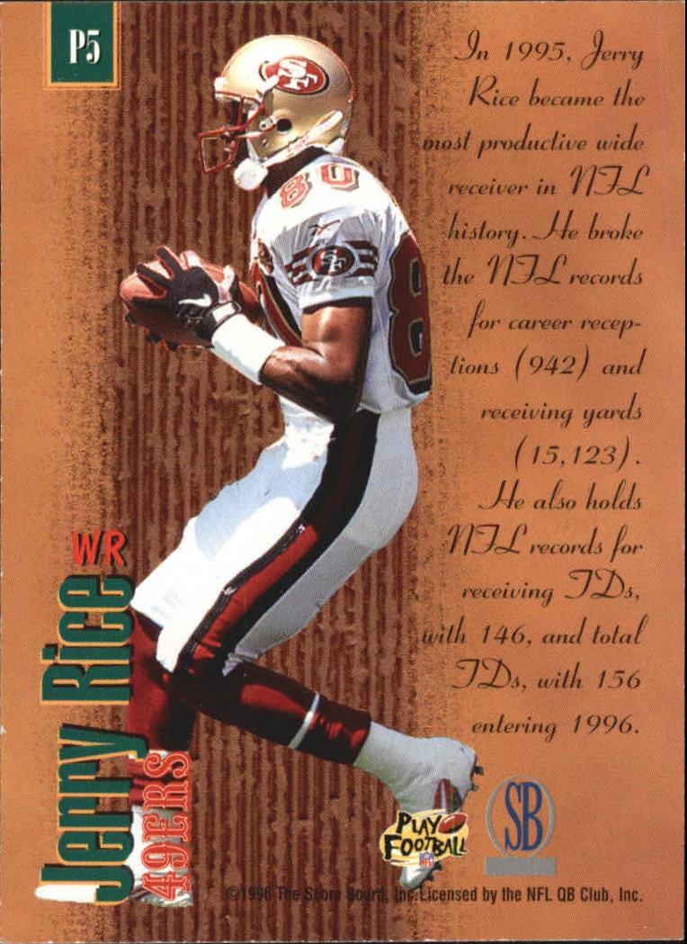 1996 Pro Line Memorabilia Producers #P5 Jerry Rice back image