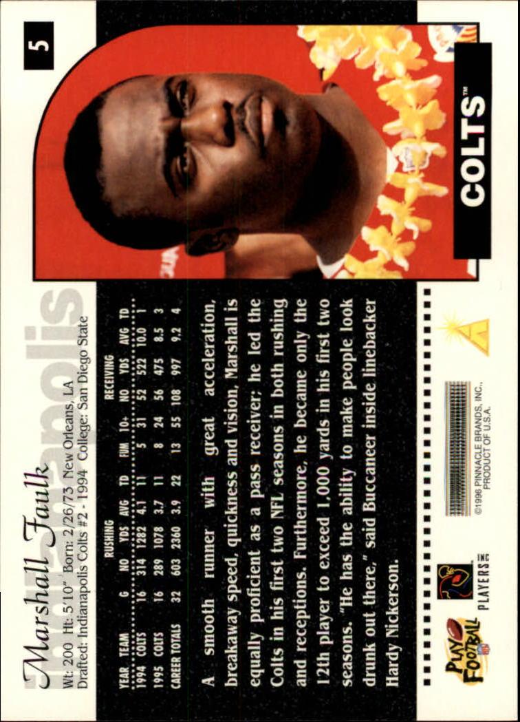 1996 Score #5 Marshall Faulk back image