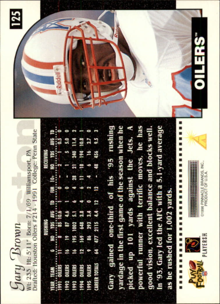 1996 Score #125 Gary Brown back image