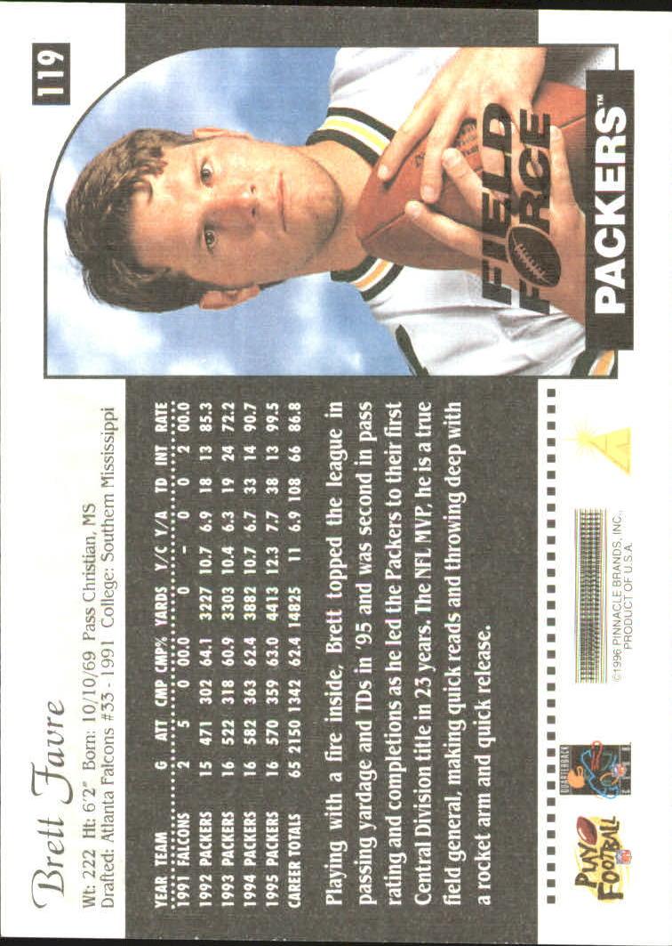 1996 Score Field Force #119 Brett Favre back image