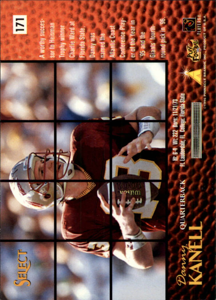 1996 Select #171 Danny Kanell RC back image