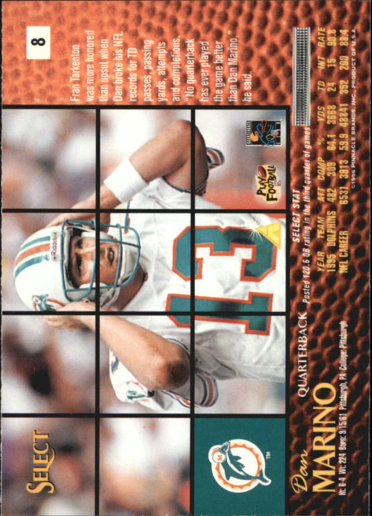 1996 Select Artist's Proofs #8 Dan Marino back image