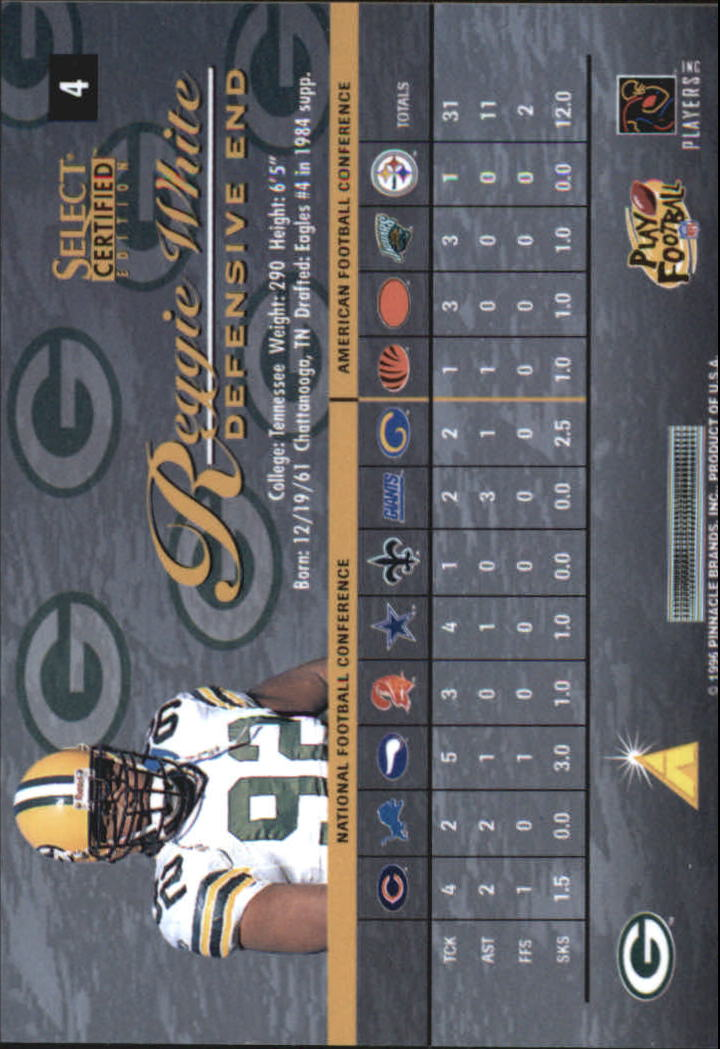 1996 Select Certified Red #4 Reggie White back image
