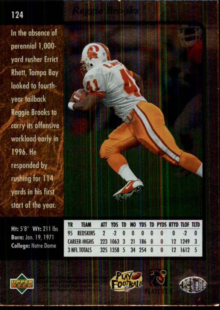 1996 SP #124 Reggie Brooks back image