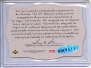 1996 SPx #UDT19A Joe Montana TRI AU back image
