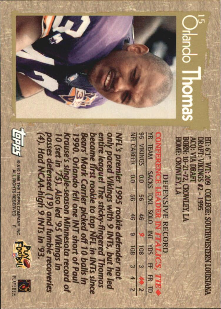 1996 Topps #15 Orlando Thomas back image
