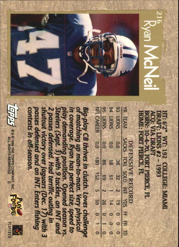 1996 Topps #216 Ryan McNeil back image