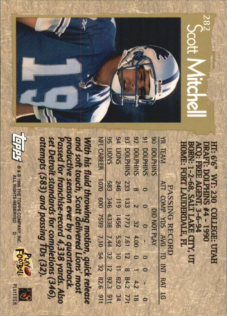 1996 Topps #282 Scott Mitchell back image