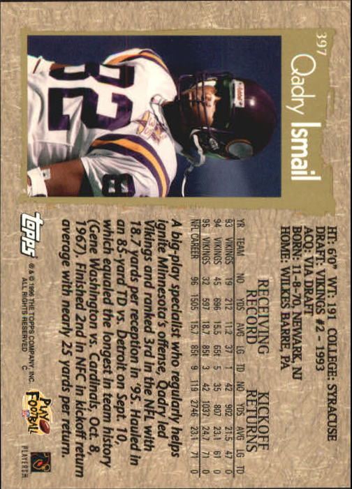 1996 Topps #397 Qadry Ismail back image