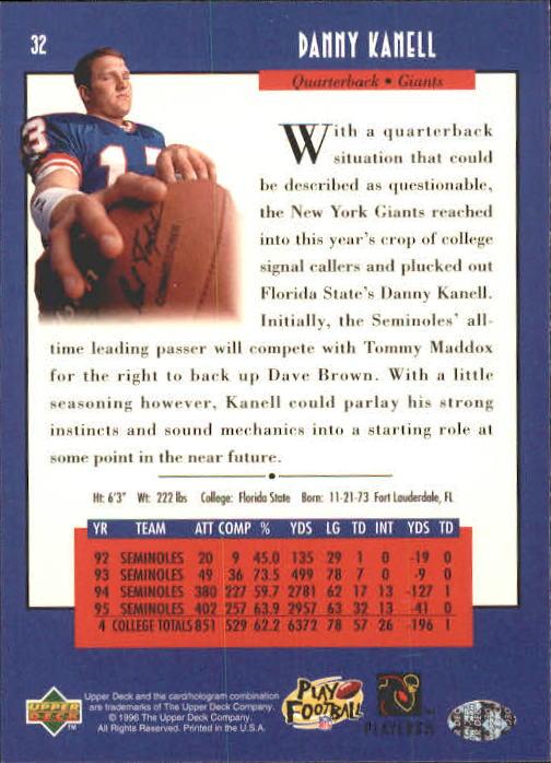 1996 Upper Deck #32 Danny Kanell RC back image