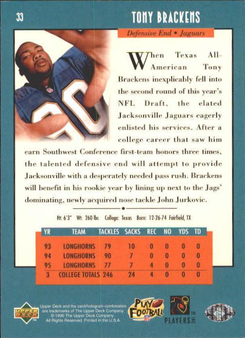 1996 Upper Deck #33 Tony Brackens RC back image