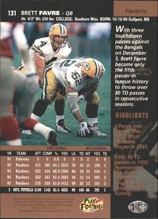 1996 Upper Deck #131 Brett Favre back image