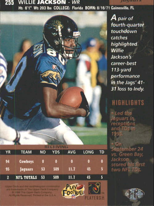 1996 Upper Deck #255 Willie Jackson back image