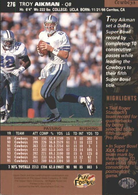 1996 Upper Deck #276 Troy Aikman back image