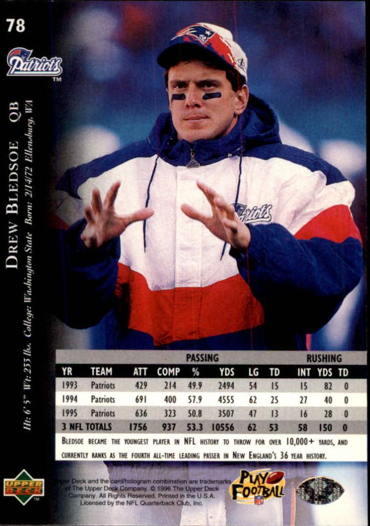 1996 Upper Deck Silver #78 Drew Bledsoe back image