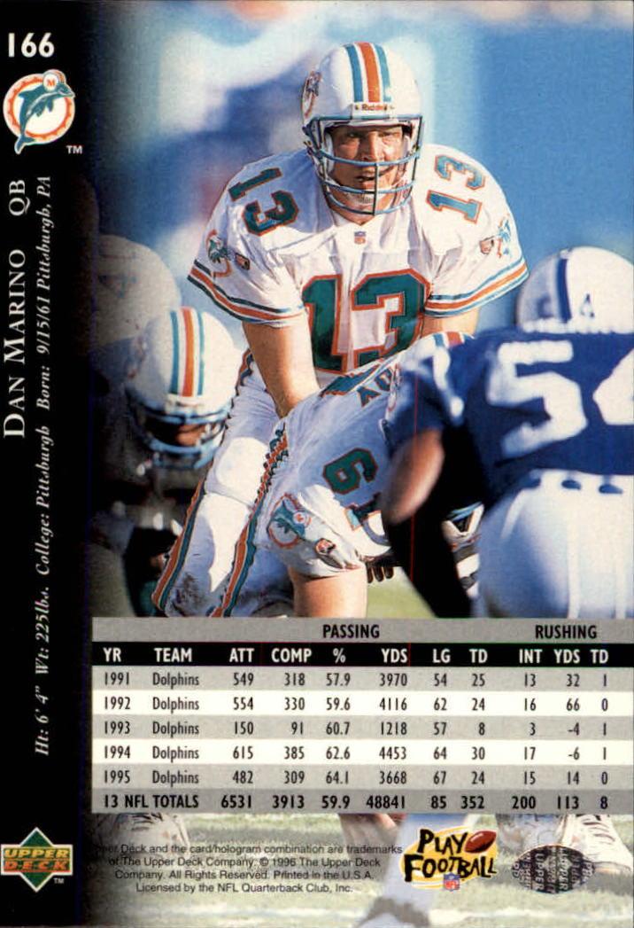 1996 Upper Deck Silver #166 Dan Marino back image