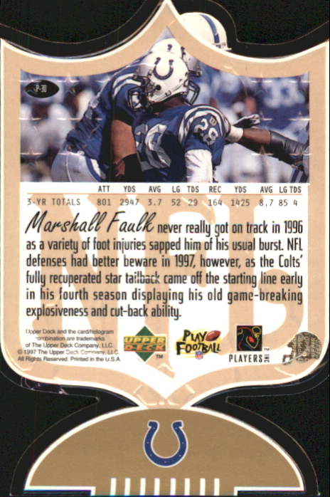 1997 SP Authentic ProFiles Die Cuts #P30 Marshall Faulk back image