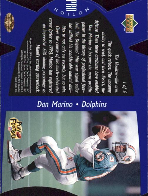 1997 SPx ProMotion #1 Dan Marino back image