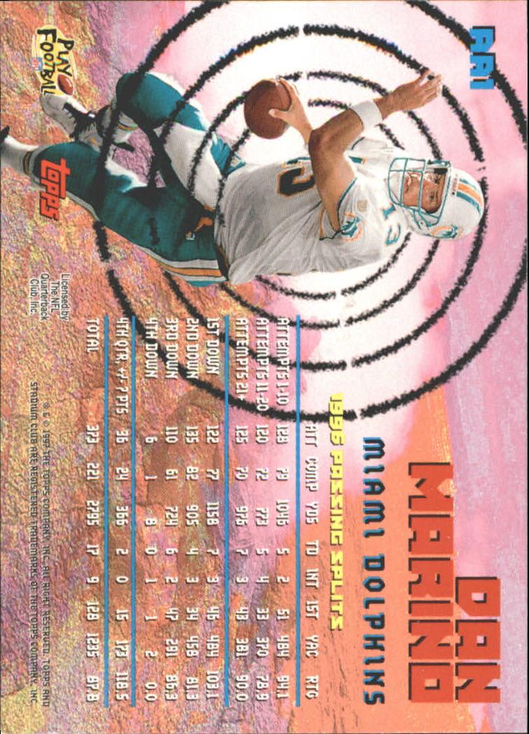 1997 Stadium Club Aerial Assault #AA1 Dan Marino back image