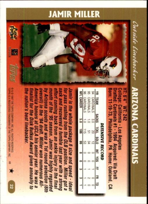1997 Topps #22 Jamir Miller back image
