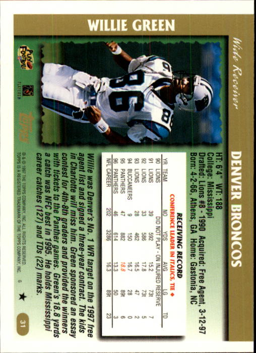 1997-Topps-Football-Base-Singles-Pick-Your-Cards