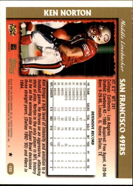 1997 Topps #152 Ken Norton back image