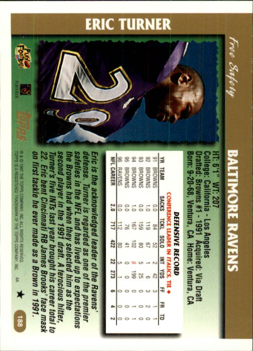 1997 Topps #188 Eric Turner back image