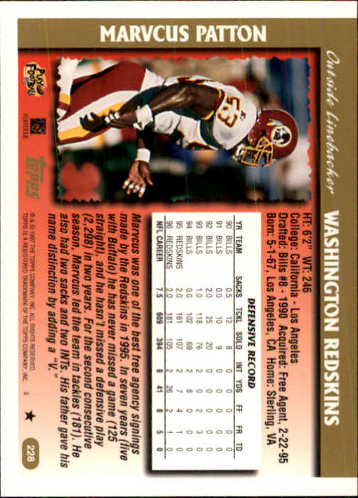 1997 Topps #228 Marvcus Patton back image