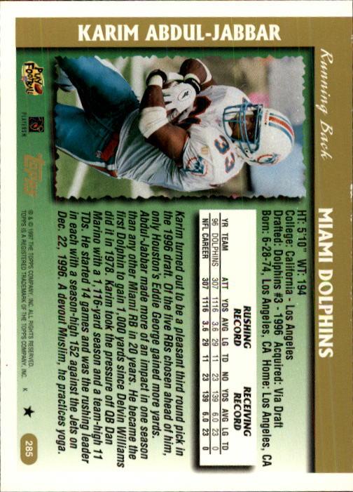 1997 Topps #285 Karim Abdul-Jabbar back image