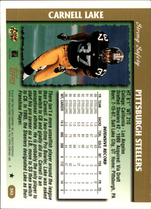 1997 Topps #343 Carnell Lake back image