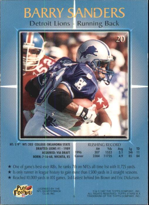 1997 Topps Stars #20 Barry Sanders back image