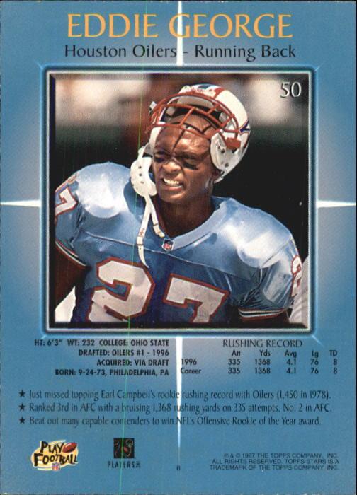 1997 Topps Stars #50 Eddie George back image
