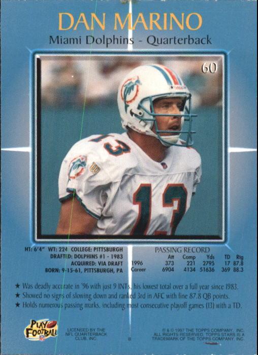 1997 Topps Stars #60 Dan Marino back image