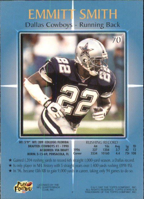 1997 Topps Stars #70 Emmitt Smith back image