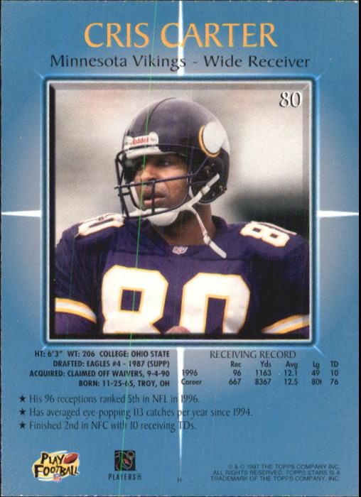 1997 Topps Stars #80 Cris Carter back image