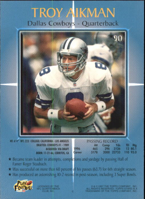 1997 Topps Stars #90 Troy Aikman back image