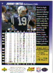 1997 Upper Deck Legends #9 Johnny Unitas back image