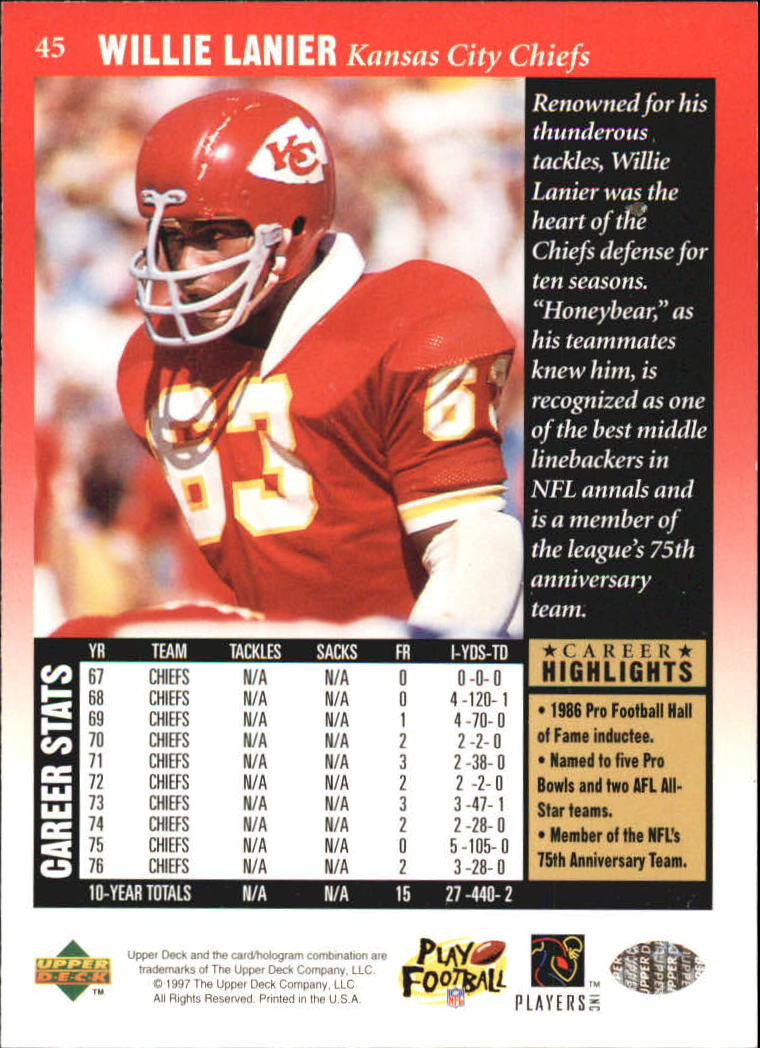 1997 Upper Deck Legends #45 Willie Lanier back image