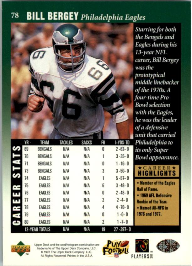 1997 Upper Deck Legends #78 Bill Bergey back image