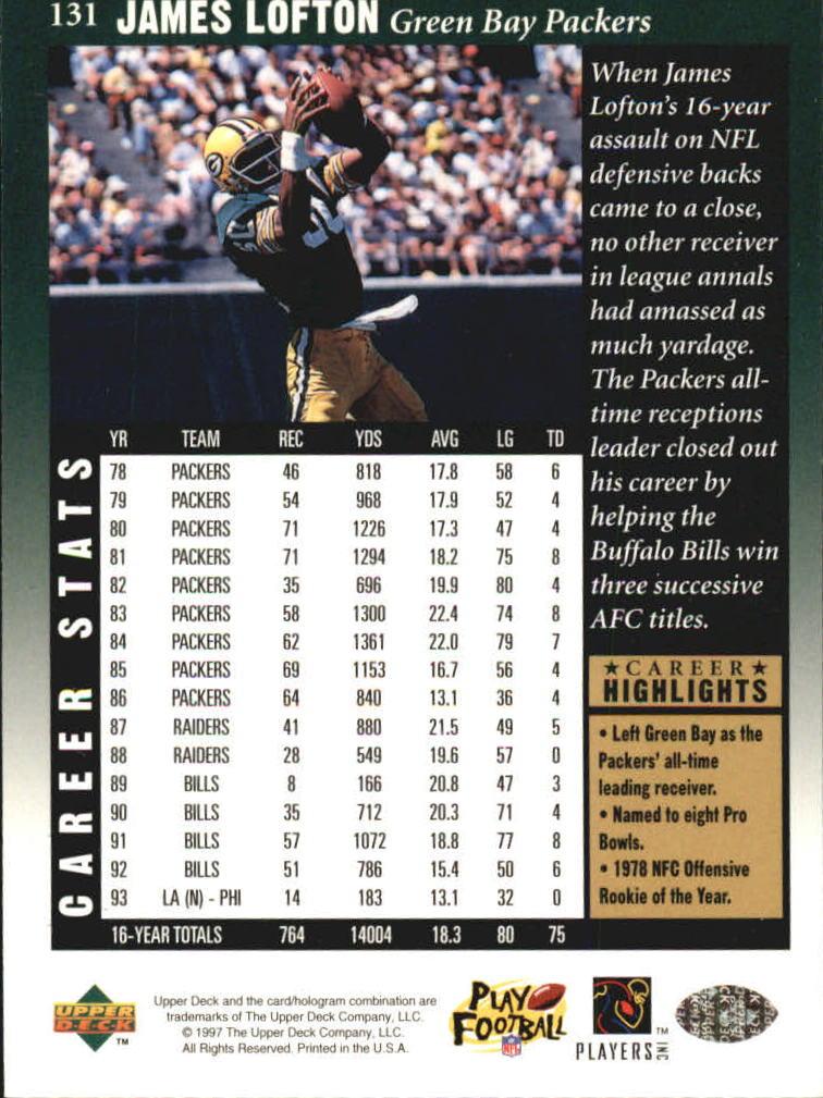1997 Upper Deck Legends #131 James Lofton back image