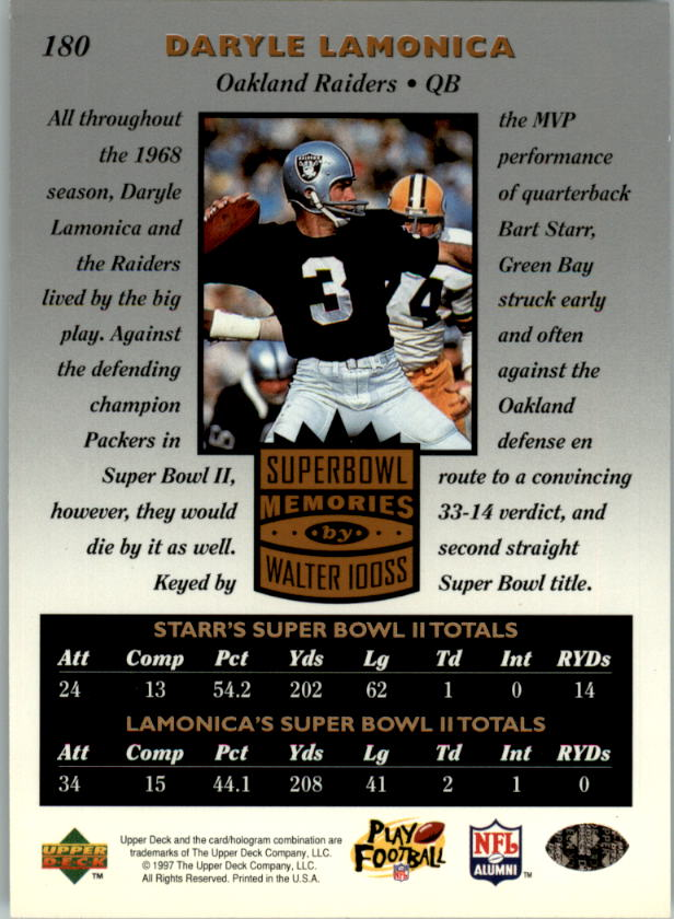 1997 Upper Deck Legends #180 Bart Starr/Daryle Lamonica SM back image