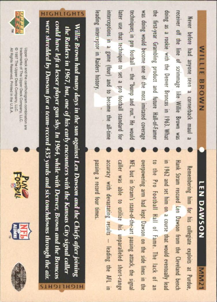 1997 Upper Deck Legends Marquee Matchups #MM21 Len Dawson/Willie Brown back image